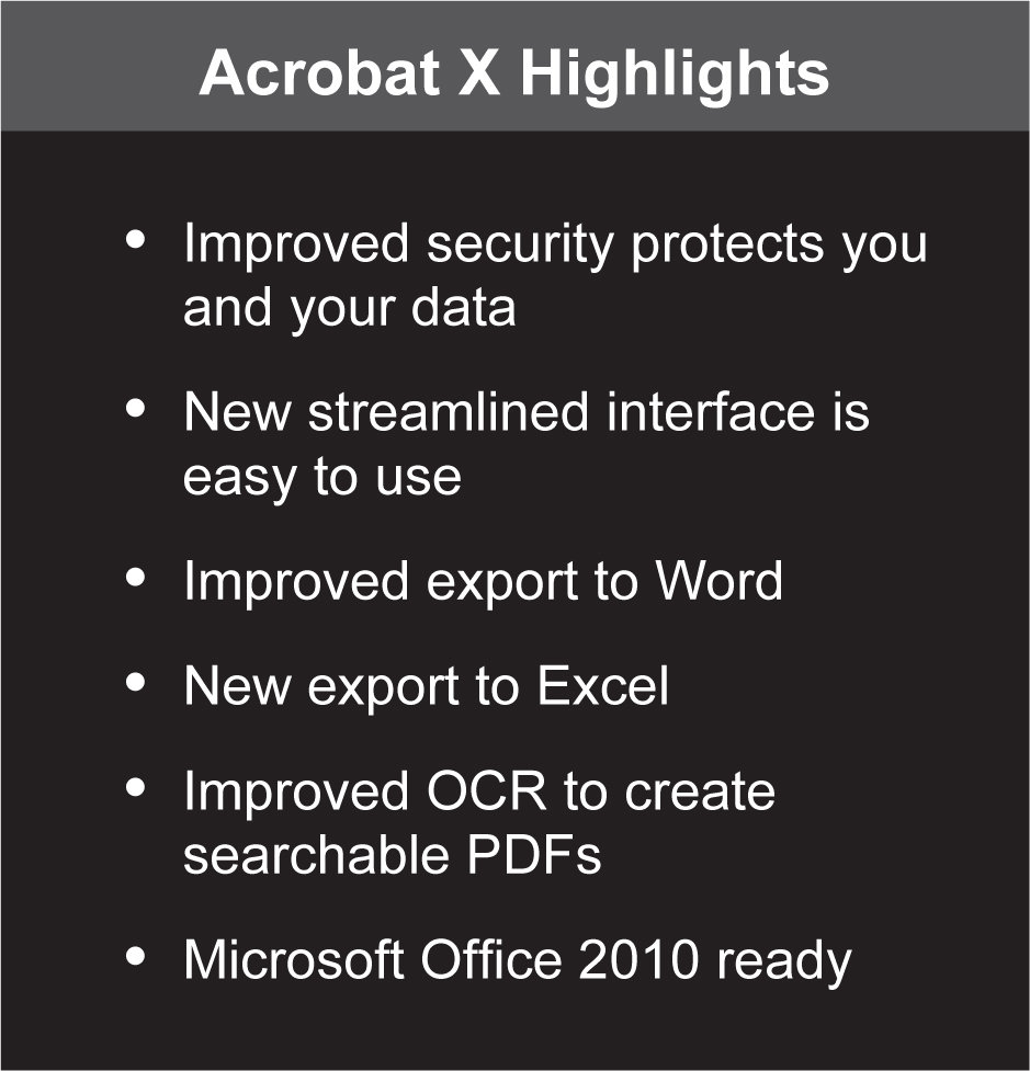 Acrobat X Standard Highlights