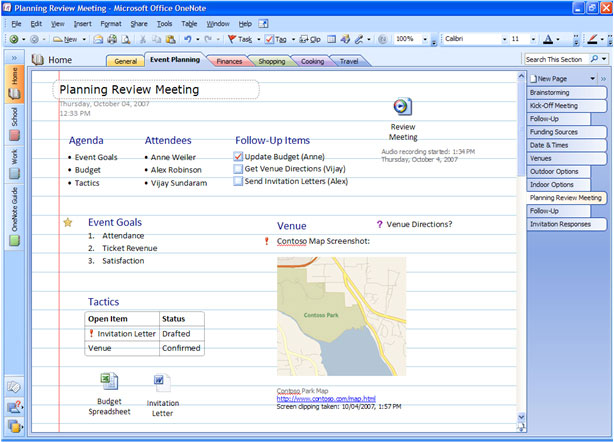Gather all of your information in Office OneNote 2007. View larger .