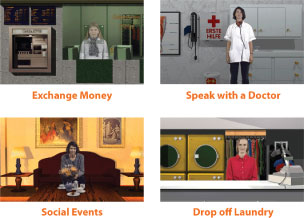 Interact with characters in real-life scenarios based on the most common, everyday situations.