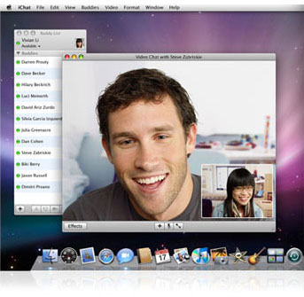 iChat is a rich instant messaging application that works on the AIM network and makes it easy to stay in touch with friends and family using text and video, whether theyre on a Mac or a PC.