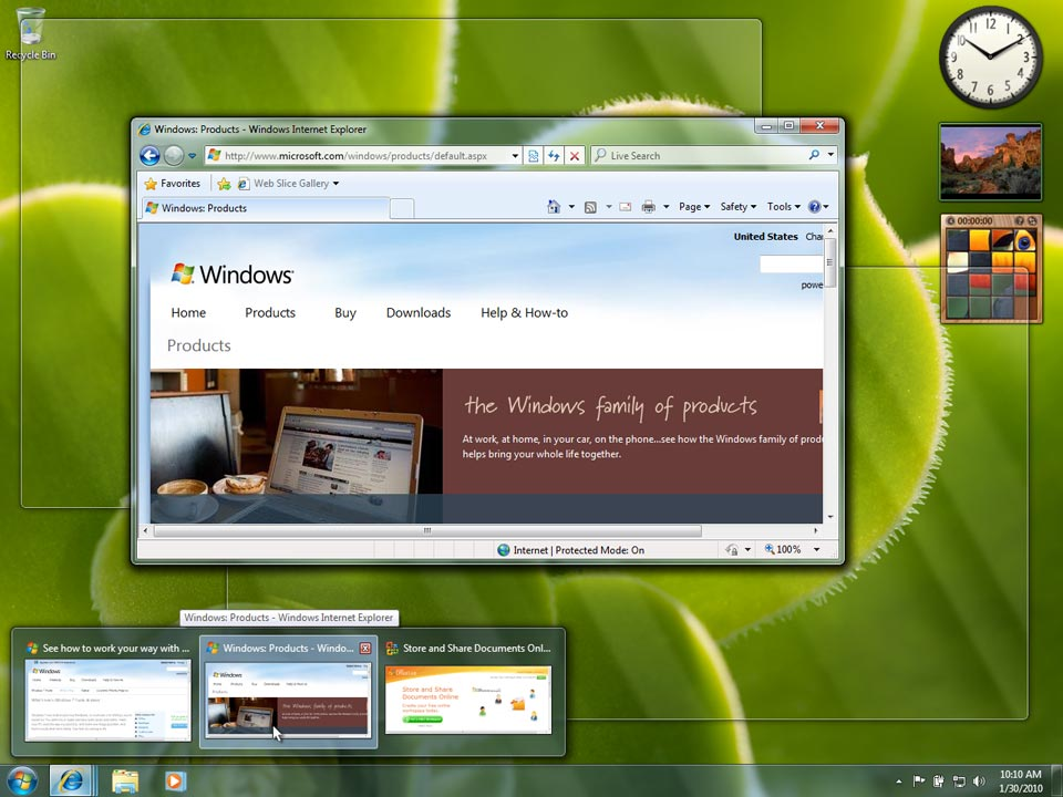 Windows 7 lets you peek behind open windows to get a quick
