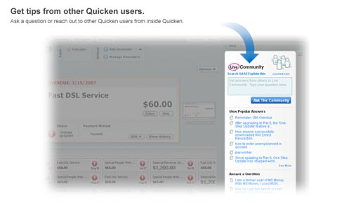 other Quicken users without ever leaving Quicken. Click to enlarge