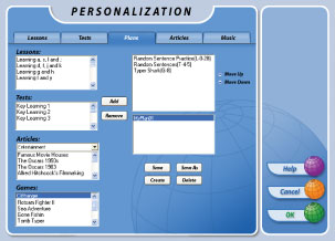 Add your own personalized material to add interest to your typing practice!