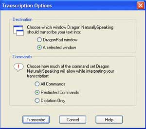 Transcription Options Window