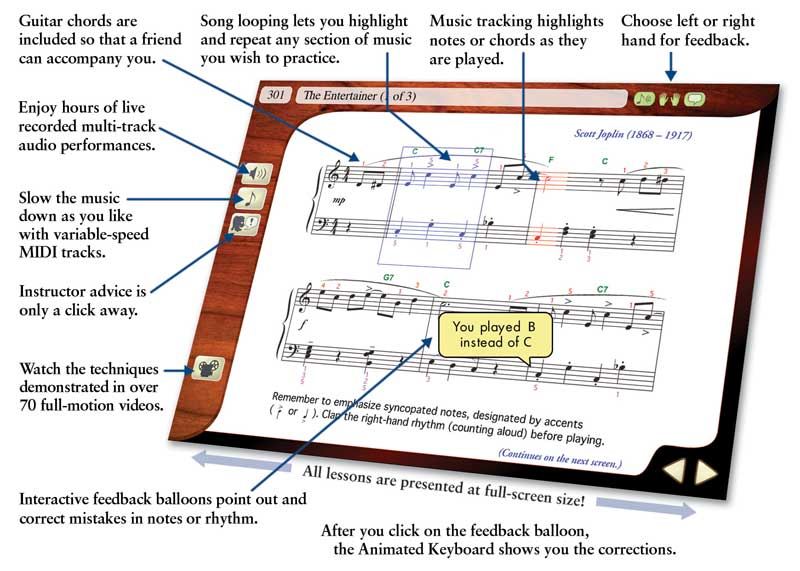 eMedia Piano & Keyboard Method Features