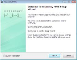 Kaspersky PURE Total Security installation