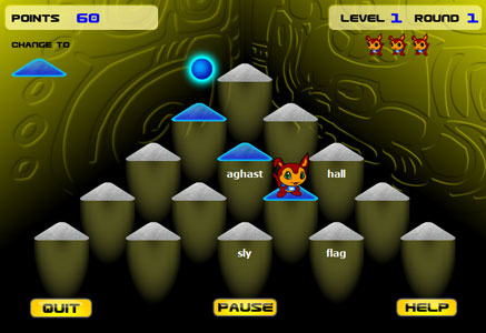 Use your keyboarding skills to clear all of the words from the pyramid pillars while avoiding the bad guys in Ziggy.