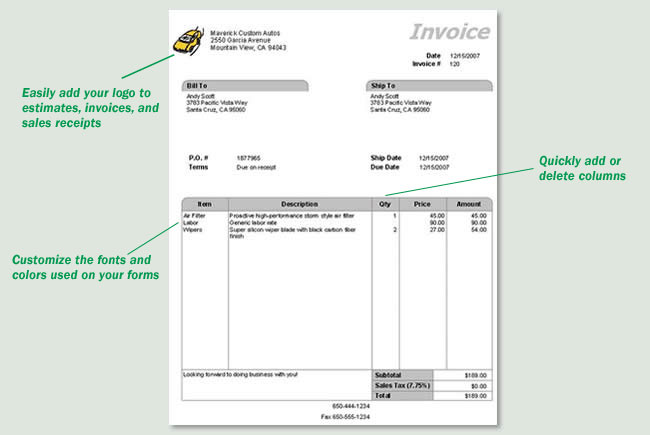 Quickly create professional invoices, estimates, and sales receipts
