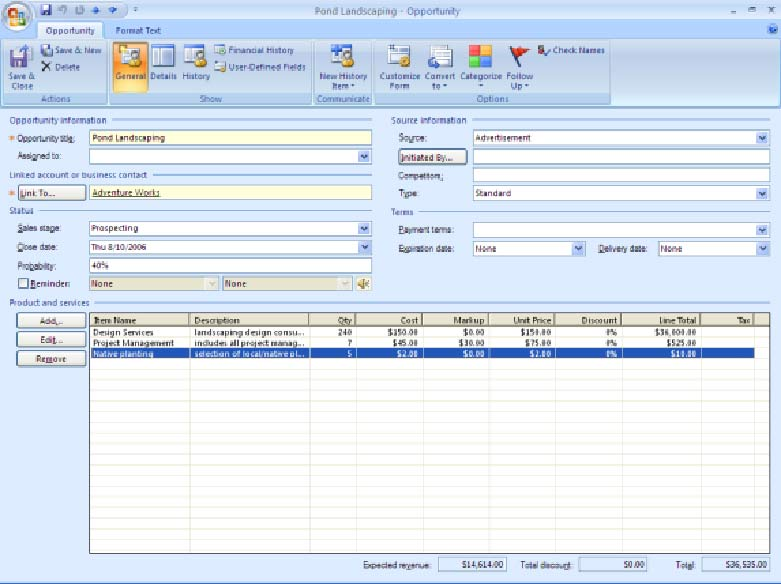 Microsoft office outlook 2007 with business contact manager