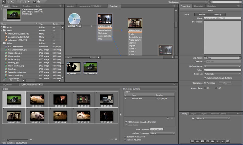 Adobe Encore CS4 Library and Styles
