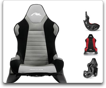 AK Designs AK 100 Rocker Gaming Chair (Gray/Black Skin)