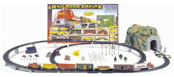 Layout showing train and accessories with box in background