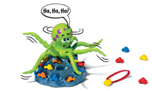 Battery-operated game featuring a ticklish octopus, who moves his tentacles as players try to grab the crabs from his stash.