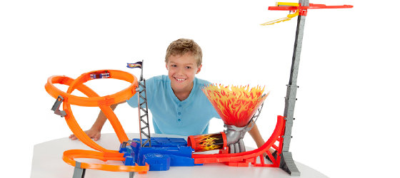 Boy with track set