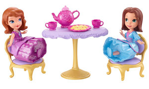 dolls and tea set