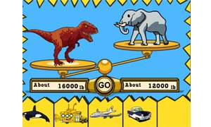 Estimate a dinosaur's weight by comparing the creature to modern-day objects on a balance scale.