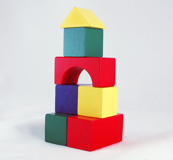 Colored Wood Blocks ~ The piece brightly colored blocks provide hours of