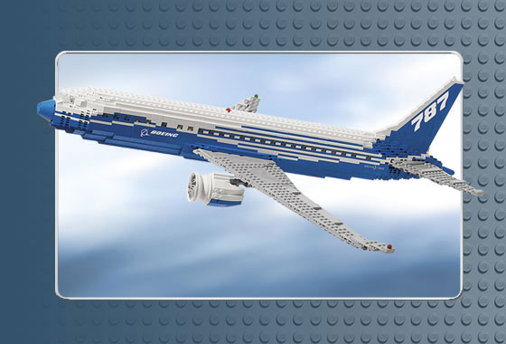 The Dreamliner airplane is scaled to the perfect dimensions with