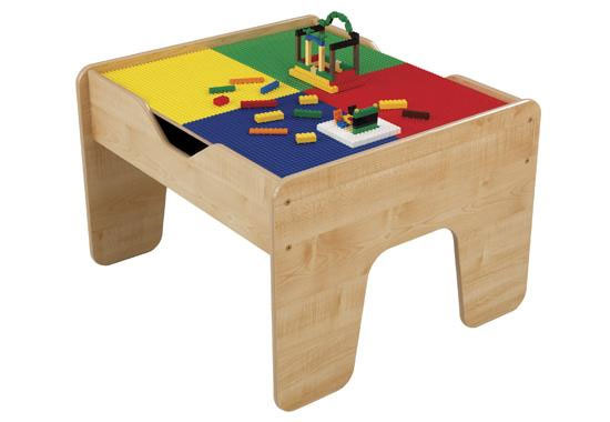 This versatile activity table has a studded lego surface