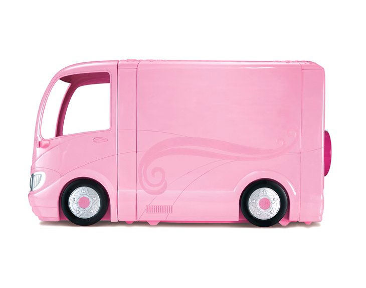 The camper features a signature pink, Barbie paint job and has over 30
