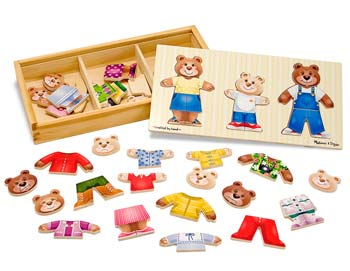 Melissa and Doug Wooden Bear Family Dress-Up Puzzle