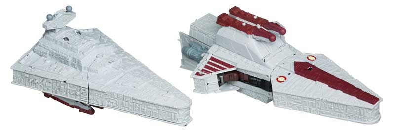 Vehicle mode transforms between Imperial and Rebel ships. View larger