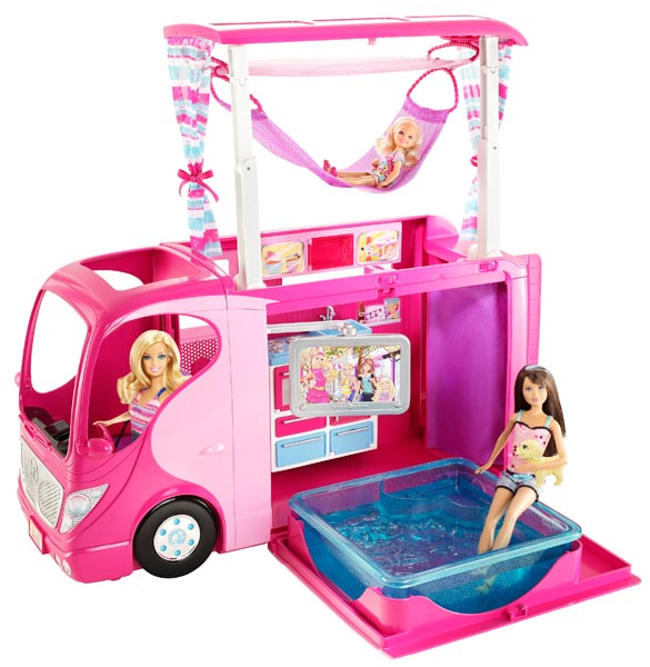 Barbie sisters family camper toys games for Barbie chien piscine