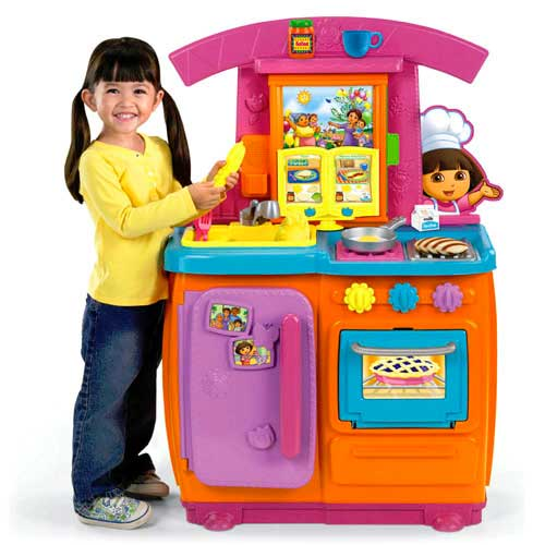 Fisher price dora fiesta favorites kitchen for Kitchen set game