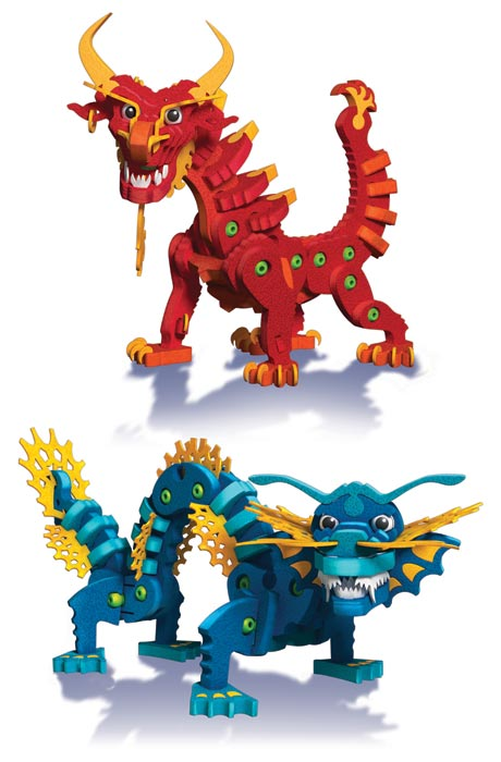 Amazon.com: Bloco Toys Aqua and Pyro Dragons: Toys & Games