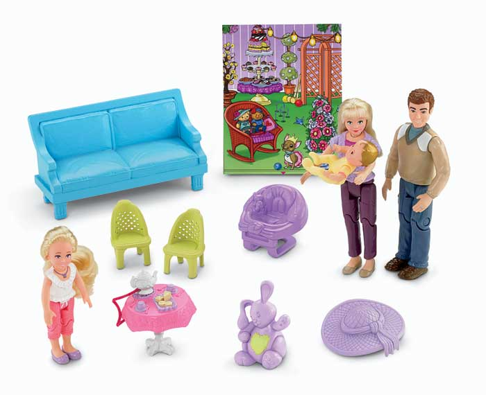 fisher price dollhouse with furniture dolls largest loving family set caucasian ebay. Black Bedroom Furniture Sets. Home Design Ideas