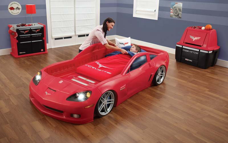 NEW Step2 Corvette Convertible Toddler to Twin Bed w/ Lights Kids Play Car Sleep : eBay