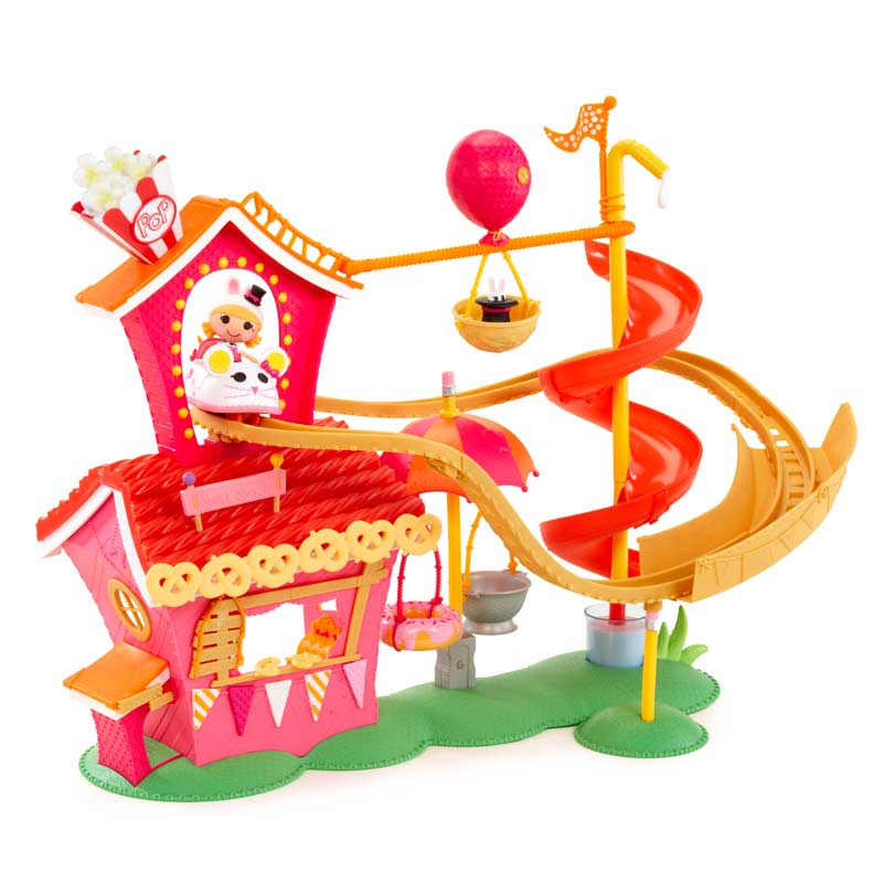 Playset includes a rollercoaster, zip line, swings, and slide for