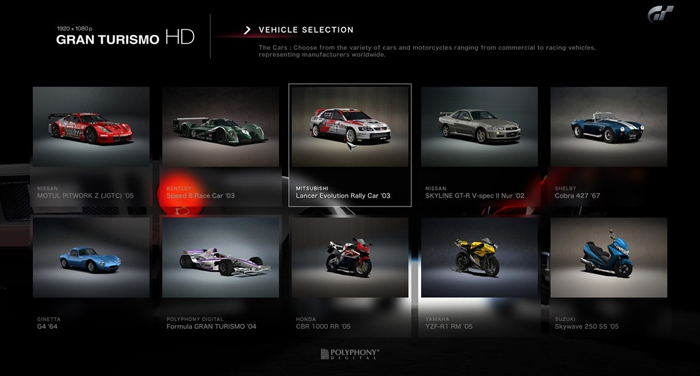 Gran Turismo HD with Motorcycles