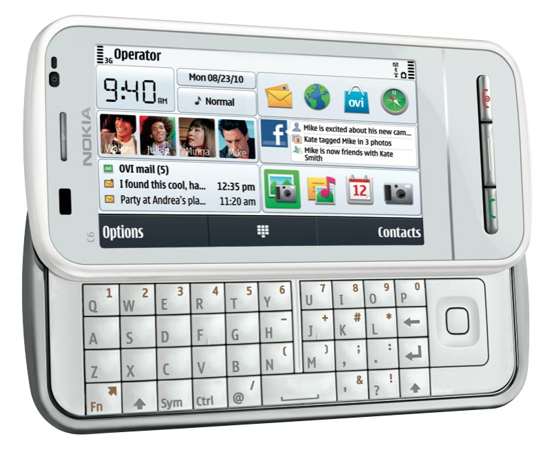 Nokia C6 Unlocked GSM Phone with Easy E mail Setup, Side Sliding Touchscreen, QWERTY, 5 MP Camera, and Free Ovi Maps Navigation (White)