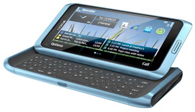 Nokia E7 in blue