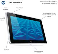 HP Slate 500 Tablet PC Feature Diagram