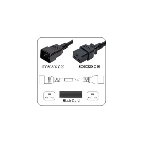 Image 0 of AC Power Cord Iec 60320 C20 Plug To C19 Connector 5 Feet 20A/250V 12/3 Sjt