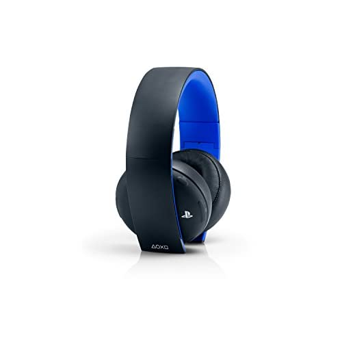 PlayStation Gold Wireless Stereo Headset Jet Black For PlayStation 4 PS4 Blue Bl