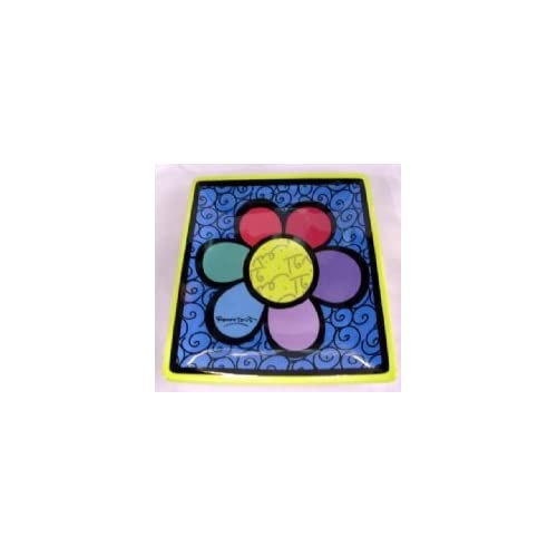 Romero Britto Square Side Plate-Flower Multi-Color