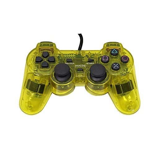 Image 0 of PlayStation 2 Wired Replacement Controller Transparent Yellow By Mars Devices