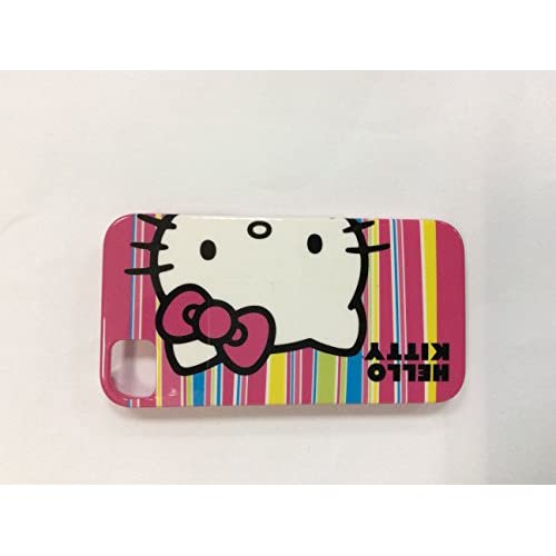 Hello Kitty Hardshell Case For iPhone 4/4S White/Red Stripes Cover