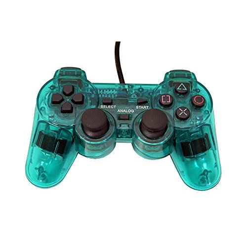 Image 0 of PS2 PlayStation 2 Wired Replacement Controller Transparent Teal Green By Mars De
