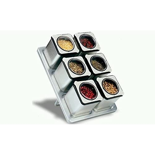 Carteret Home Collection CHC-90431 Magnetic Spice Rack With 6 Tin Jars