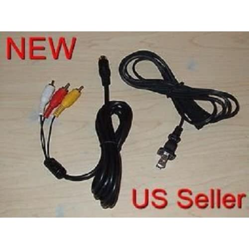 AC Power Cord & AV Audio Video RCA Cable For Sega Saturn System