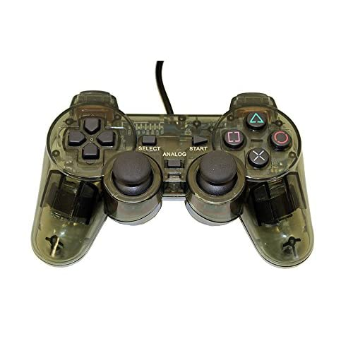Image 0 of PS2 PlayStation 2 Wired Replacement Controller Transparent Black By Mars Devices