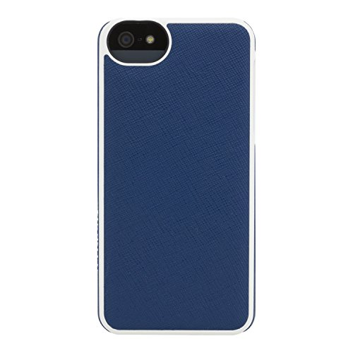 Adopted Leather Cell Phone Case For Apple iPhone 5 5S SE Saffiano Navy/White Cov