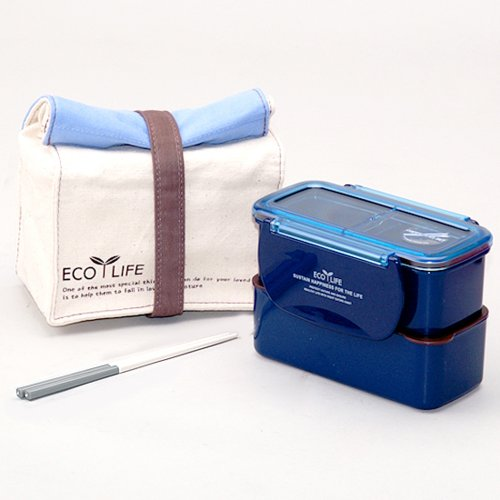 Lock & Lock BPA Free Mini Lunch Box Chopsticks And Cotton Bag Blue