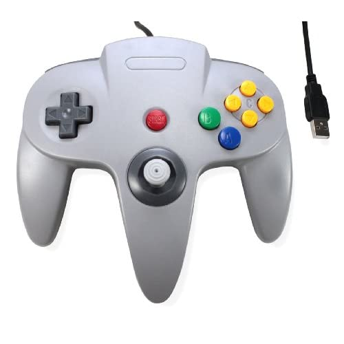 Image 0 of Classic N64 Bit USB Wired Controller For PC And MAC Grey Gray Gamepad
