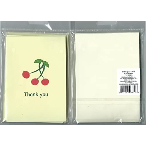 Cherry Design Thank You Note Cards 8 Count With Envelopes