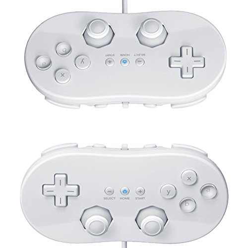 2X White Classic Pro Controller For Remote For Wii